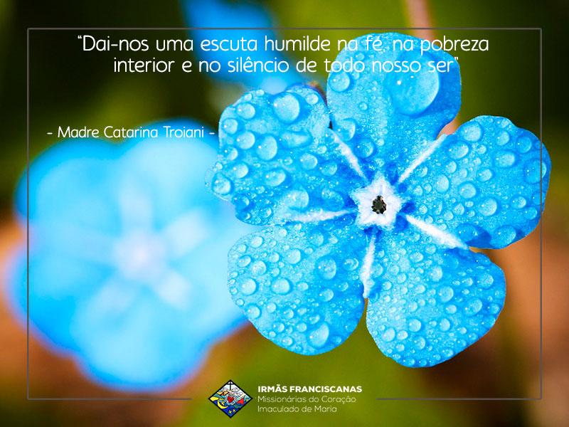 """""""Dai-nos uma escuta humilde na fé, na pobreza interior e no silêncio de todo nosso ser"""""""